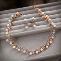 Classic Gold Wedding Bridal Accessories Simple Pearl Crystal Necklace Earrings Sets