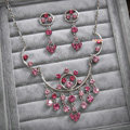 Classic Pink Wedding Bridal Accessories Elegant Tassel Crystal Necklace Earrings Sets