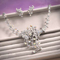 Classic Silver Plated Wedding Bridal Jewelry Butterfly Peacock Crystal Necklace Earrings Sets