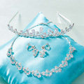 Classic Simple Wedding Jewelry Sets Crystal Flower Vine Tiara & Earrings & Bridal Zircon Necklace