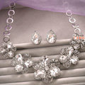 Classic Wedding Bridal Jewelry Elegant Hollow Flower Crystal Rhinestone Necklace Earrings Sets