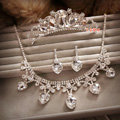 Classic Wedding Bridal Jewelry Heart Rhinestone Crystal Tiara Necklace Earrings Sets