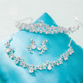 Classic Wedding Jewelry Sets Crystal Water drop Flower Vine Tiara & Earrings & Bridal Zircon Necklace