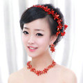Classic Wedding Jewelry Sets for Bridal Red Crystal Flowers Tiara & Earrings & Rhinestone Necklace