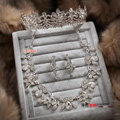 Clear Crystal Luxury Wedding Jewelry Sets For Bridal Flower Necklace Earrings Tiara