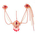 Elegant Wedding Bohemia Headdress Jewelry Red Crystal Beads Tassel Bridal Headband Hair Accessories