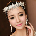 Elegant Wedding Headdress Jewelry Tassel Lace Flower Crystal Bridal Headband Hair Accessories