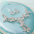 Fashion High Quality Wedding Jewelry Sets Butterfly Crystal Earrings & Bridal Pendant Necklace
