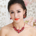 Fashion Retro Wedding Jewelry Sets Red Gemstone Flower Crystal Earrings & Bridal Necklace