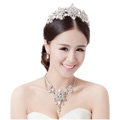 Fashion Unique Wedding Jewelry Sets Flower Crystal Tiara & Earrings & Bridal Tassel Necklace