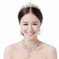 Fashion Wedding Jewelry Sets Hollow Flower Crystal Tiara & Earrings & Bridal Water-drop Necklace