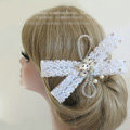 High Quality Crystal beads Bridal Hairwear Lace Bowknot Hair Clip Wedding Hair Accessories