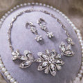 High Quality Fashion Wedding Banquet Jewelry Sets Flower Crystal Earrings & Bridal Necklace