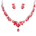 High Quality Fashion Wedding Banquet Jewelry Sets Red Crystal Stud Earrings & Bridal Necklace