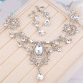 High Quality Fashion Wedding Jewelry Sets Clear Crystal Gemstone Earrings & Bridal Necklace