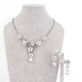High Quality Fashion Wedding Jewelry Sets Flower Bling Crystal Earrings & Bridal Pendant Necklace