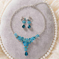 High Quality Fashion Wedding Jewelry Sets Flower Blue Crystal Earrings & Bridal Pendant Necklace