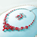 High Quality Fashion Wedding Jewelry Sets Flower Red Crystal Earrings & Bridal Pendant Necklace