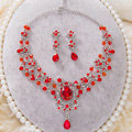 High Quality Fashion Wedding Jewelry Sets Red Crystal Gemstone Earrings & Bridal Necklace