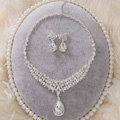 High Quality Fashion Wedding Jewelry Sets Water-drops Bling Crystal Earrings & Bridal Necklace
