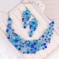 High Quality Unique Wedding Jewelry Sets Flower Blue Crystal Drop Earrings & Bridal Necklace