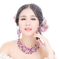 High Quality Unique Wedding Jewelry Sets Flower Purple Crystal Drop Earrings & Bridal Necklace