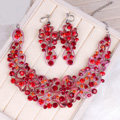 High Quality Unique Wedding Jewelry Sets Flower Red Crystal Drop Earrings & Bridal Necklace