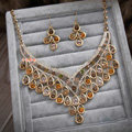 Luxurious Champagne Wedding Bridal Jewelry Elegant Crystal Necklace Earrings Sets