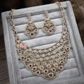 Luxurious Champagne Wedding Bridal Jewelry Fan-shaped Crystal Necklace Earrings Sets