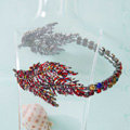 Luxury Antique Wedding Jewelry Red Leaf Crystal Tiaras Bridal Rhinestone Hair Hoop Accessories