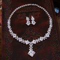 Luxury Banquet Wedding Jewelry Sets Blocks Flower Earrings & Bridal AAA+ Zircon Statement Necklace