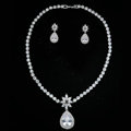 Luxury Banquet Wedding Jewelry Sets Diamond Flower Water-drop Earrings & Bridal Zircon Statement Necklace