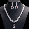 Luxury Banquet Wedding Jewelry Sets Diamond Stud Earrings & Bridal Zircon Statement Necklace
