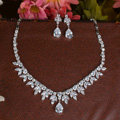 Luxury Banquet Wedding Jewelry Sets Flower Diamond Earrings & Bridal AAA+ Zircon Statement Necklace