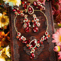 Luxury Banquet Wedding Jewelry Sets Flower Red Crystal Headdress & Earrings & Bridal Rhinestone Necklace