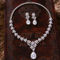 Luxury Banquet Wedding Jewelry Sets Flower Water-drops Earrings & Bridal AAA+ Zircon Statement Necklace