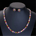 Luxury Banquet Wedding Jewelry Sets Multicolor Diamond Stud Earrings & Bridal Zircon Statement Necklace