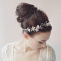 Luxury Beaded Gold Blossom Hair Vine Crystal Flower Hairwear Bridal Wedding Hair Band Accessories