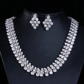 Luxury Classic Banquet Wedding Jewelry Sets Diamond Stud Earrings & Bridal Zircon Statement Necklace