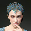 Luxury European Wedding Jewelry Blue Tassel Crystal Tiaras Bridal Crown Rhinestone Hair Accessories