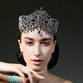 Luxury European Wedding Jewelry Flower Crystal Large Tiaras Bridal Crown Rhinestone Hair Accessories