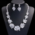 Luxury Evening Party Wedding Jewelry Sets Flower Stud Earrings & Bridal Zircon Statement Necklace