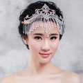 Luxury Fashion Wedding Jewelry Crystal Beads Tassel Large Tiaras Bridal Crown Rhinestone Hair Accessories
