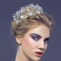 Luxury Retro Wedding Jewelry Crystal Pearl Butterfly Tiaras Bridal Crown Rhinestone Hair Accessories