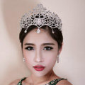 Luxury Retro Wedding Jewelry Flower Crystal Tiaras Bridal Rhinestone Pendant Crown Hair Accessories