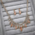 Luxury Rose Gold Wedding Bridal Accessories Elegant Crystal Diamond Necklace Earrings Sets