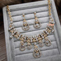 Luxury Rose Gold Wedding Bridal Accessories Flower Water drops Crystal Necklace Earrings Sets