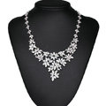 Luxury Wedding Banquet Jewelry Sets Diamond Flower Earrings & Bridal AAA Zircon Statement Necklace