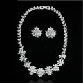 Luxury Wedding Banquet Jewelry Sets Diamond Flower Stud Earrings & Bridal AAA Zircon Statement Necklace