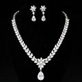 Luxury Wedding Banquet Jewelry Sets Diamond Flower Water-drop Earrings & Bridal Zircon Statement Necklace